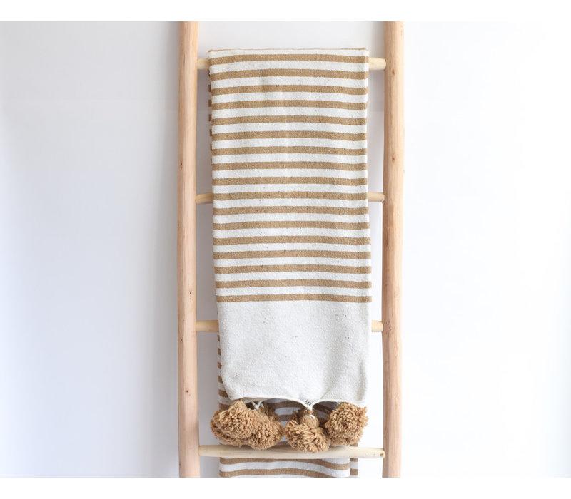 Couverture pompom rayée beige