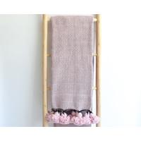 Couverture pompoms Diamond Rose