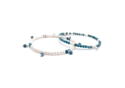 Bracelet Apatite, perles et argent - apatite