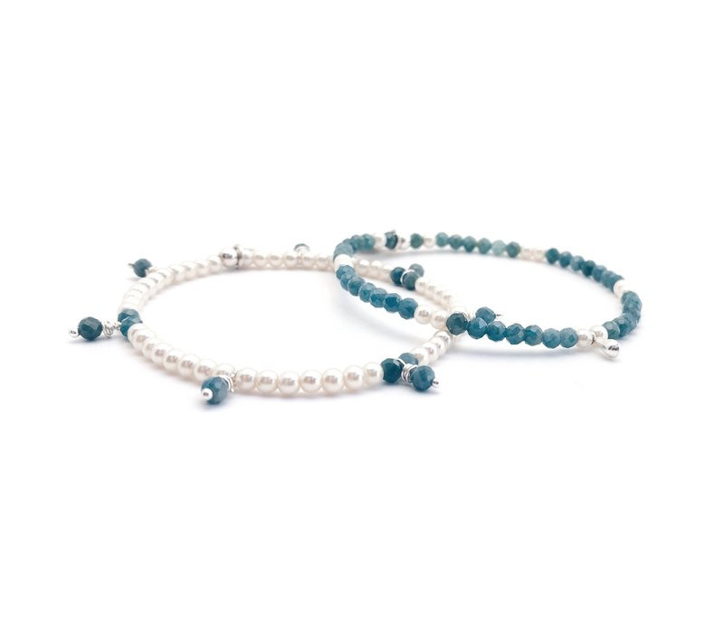 Apatite, pearl & silver bracelet - Apatite