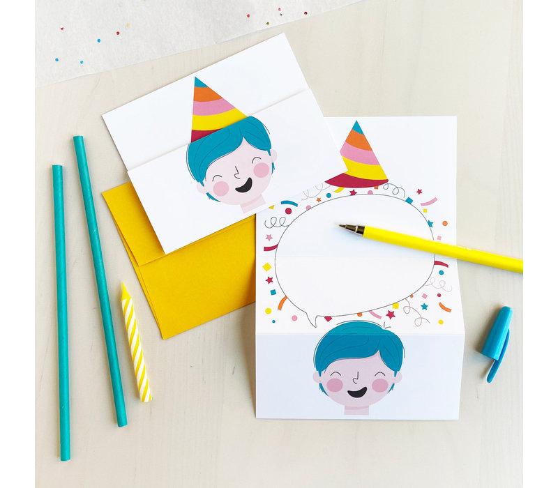 Unfolding Card - Party hat cyan
