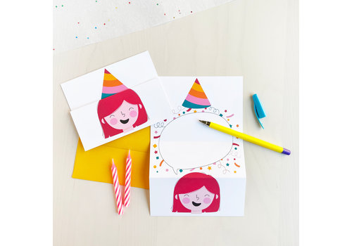 Unfolding Card - Party hat magenta