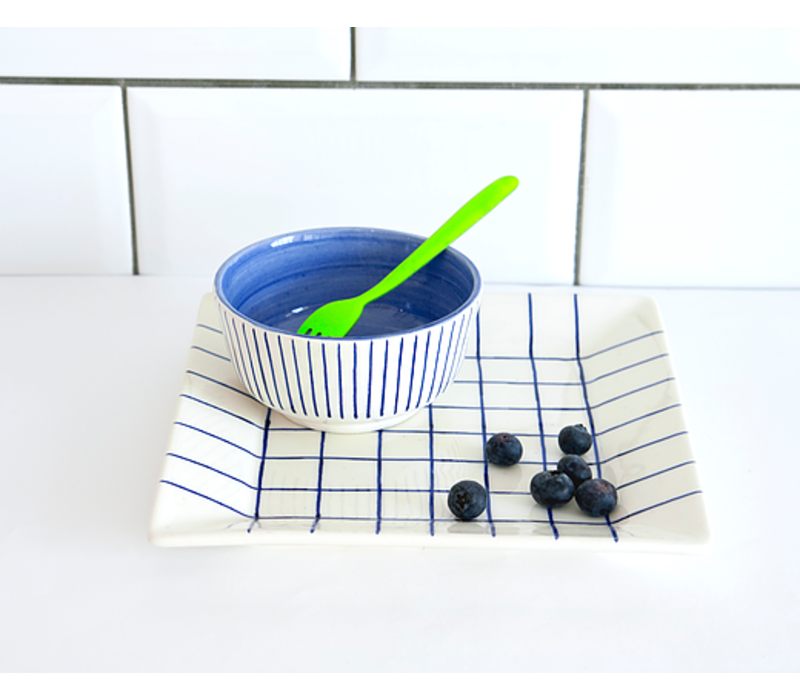 Blue square plate