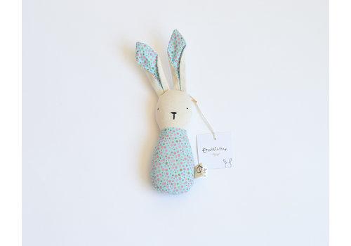 Blue dots - bunny rattle