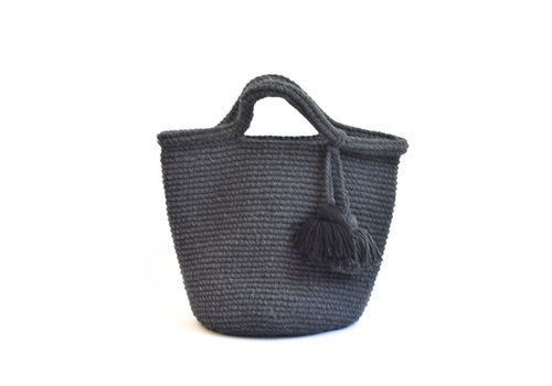 Crochet tote bag  dark grey