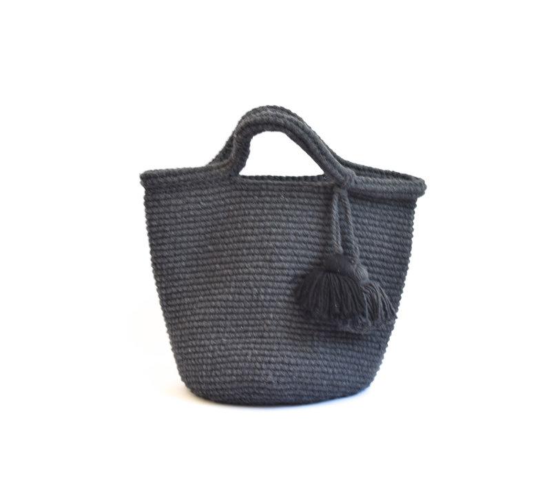 Crochet tote bag  dark grey