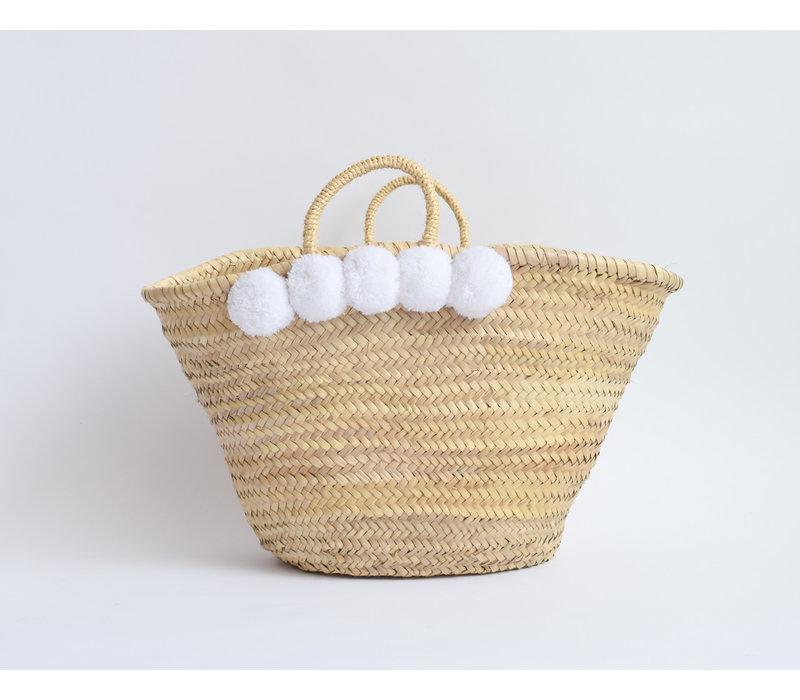 Straw  pompom basket - white gm