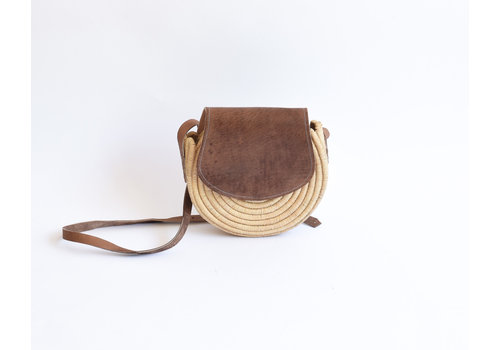 Raffia leather bag