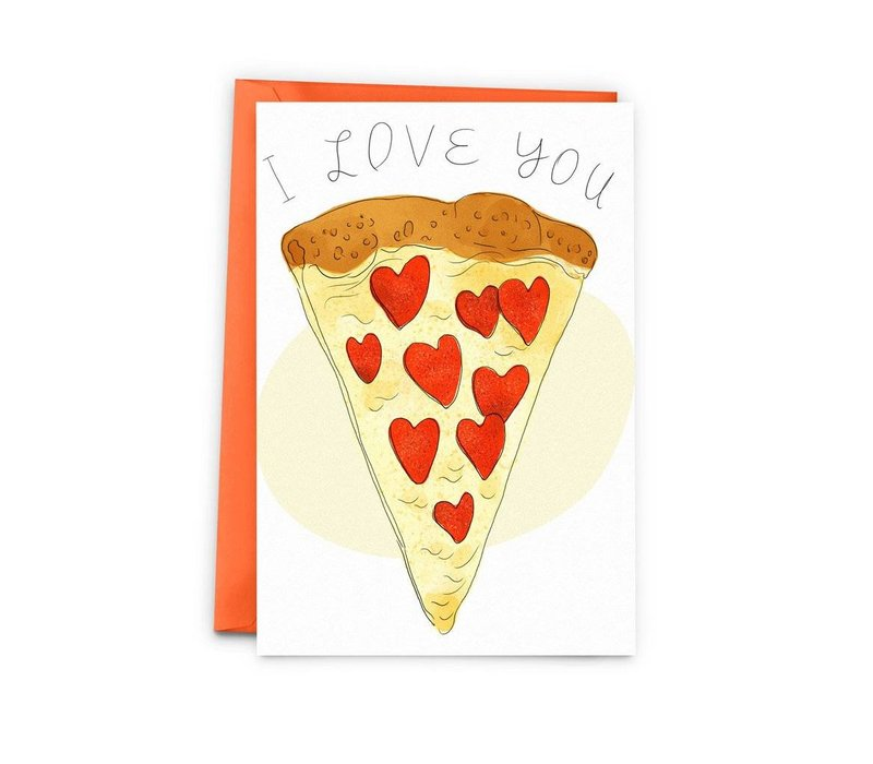 pizza love greeting card