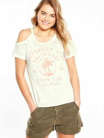 SUPERDRY Superdry boyfriend cold shoulder tee