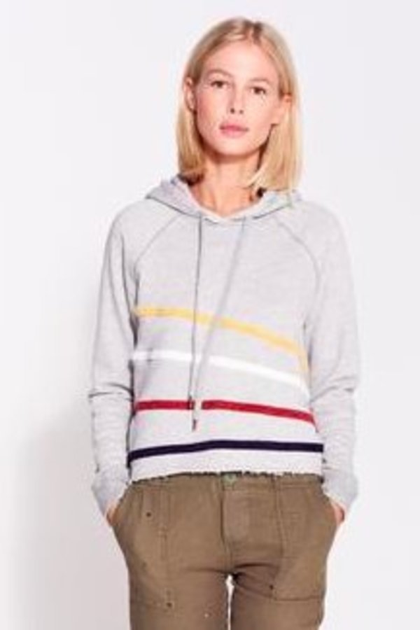 SUNDRY Chenille Stripes Cropped Hoodie