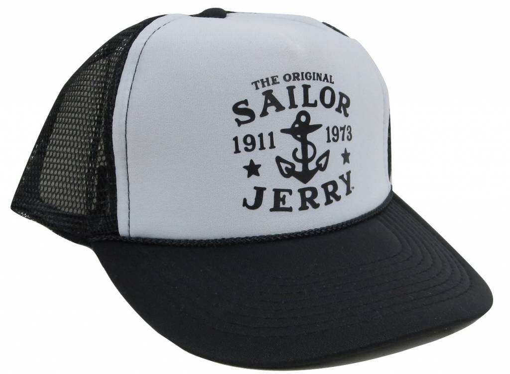 Sailor Jerry Original Snap Back Trucker Cap - Black   White - Franks ... 91a1a4ed108
