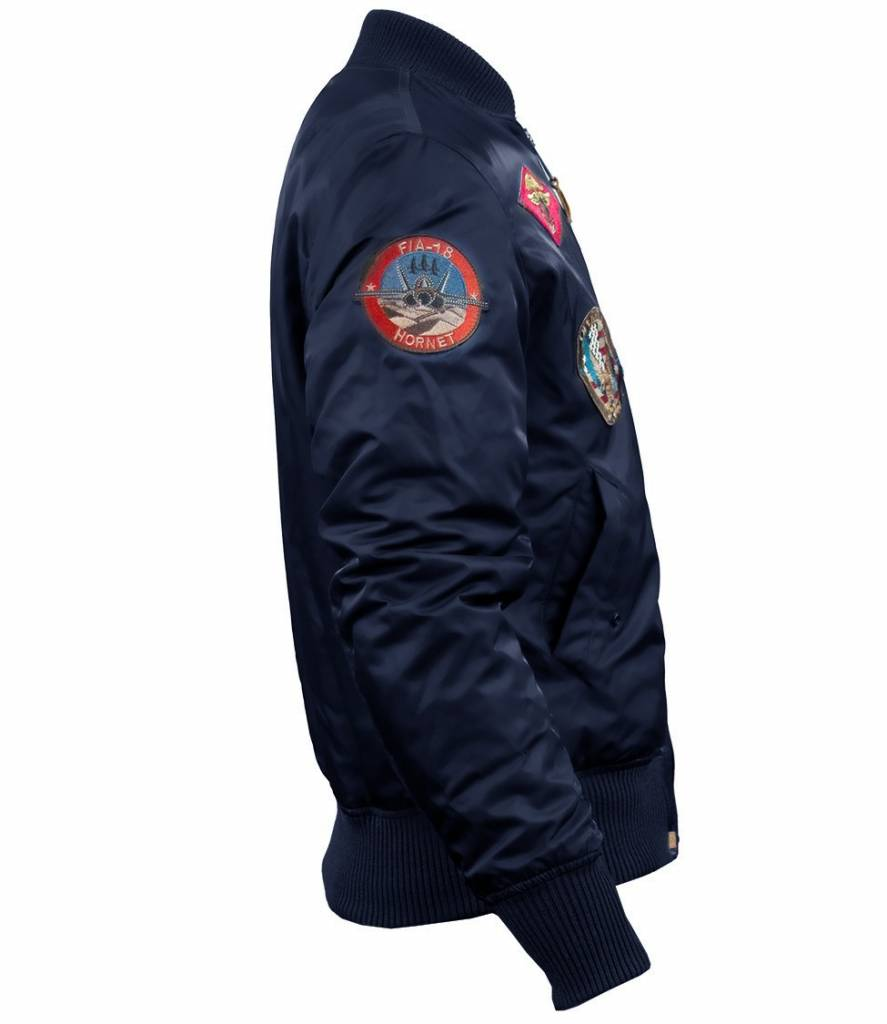 2d762ecfe44 TOP GUN® MA-1 NYLON BOMBER JACKET WITH PATCHES - Franks Fisherman