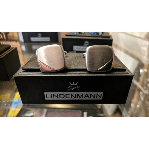 Lindenmann Brushed Silver Square Cufflinks