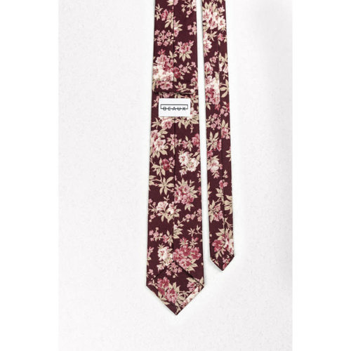 Beaux Burgundy And Mauve Floral Skinny Necktie