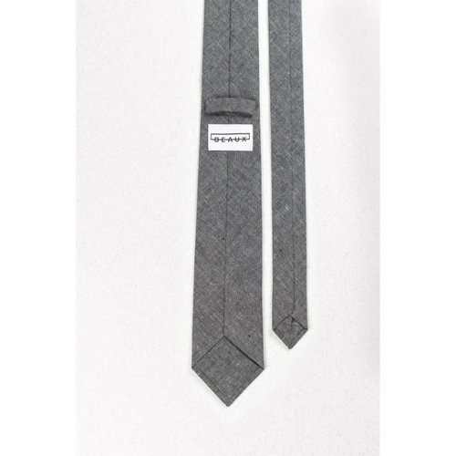 Beaux Grey Chambray Skinny Necktie