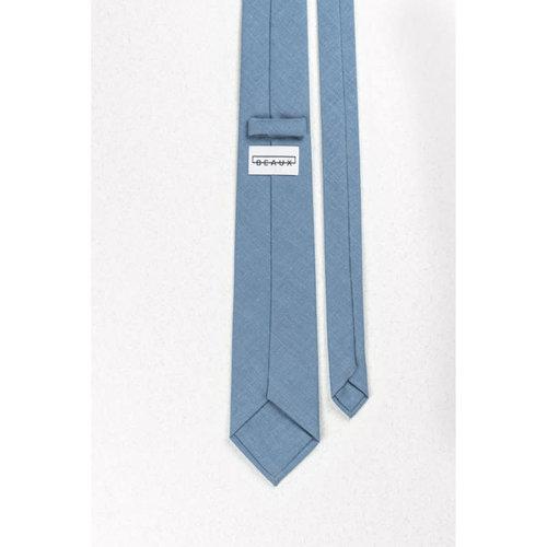 Beaux Slate Blue Linen Skinny Necktie