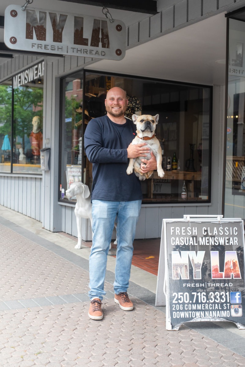 Leon (NYLA Owner) & Karl (Dog) at our Nanaimo Store