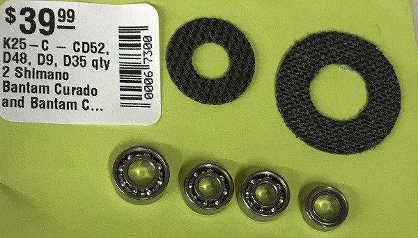 DadsOleTackle K25-C - CD52, D48, D9, D35 qty 2 Shimano Bantam Curado and Bantam Citica Super Tune Kit Ceramic Hybrid Spool Bearings Carbon Drags