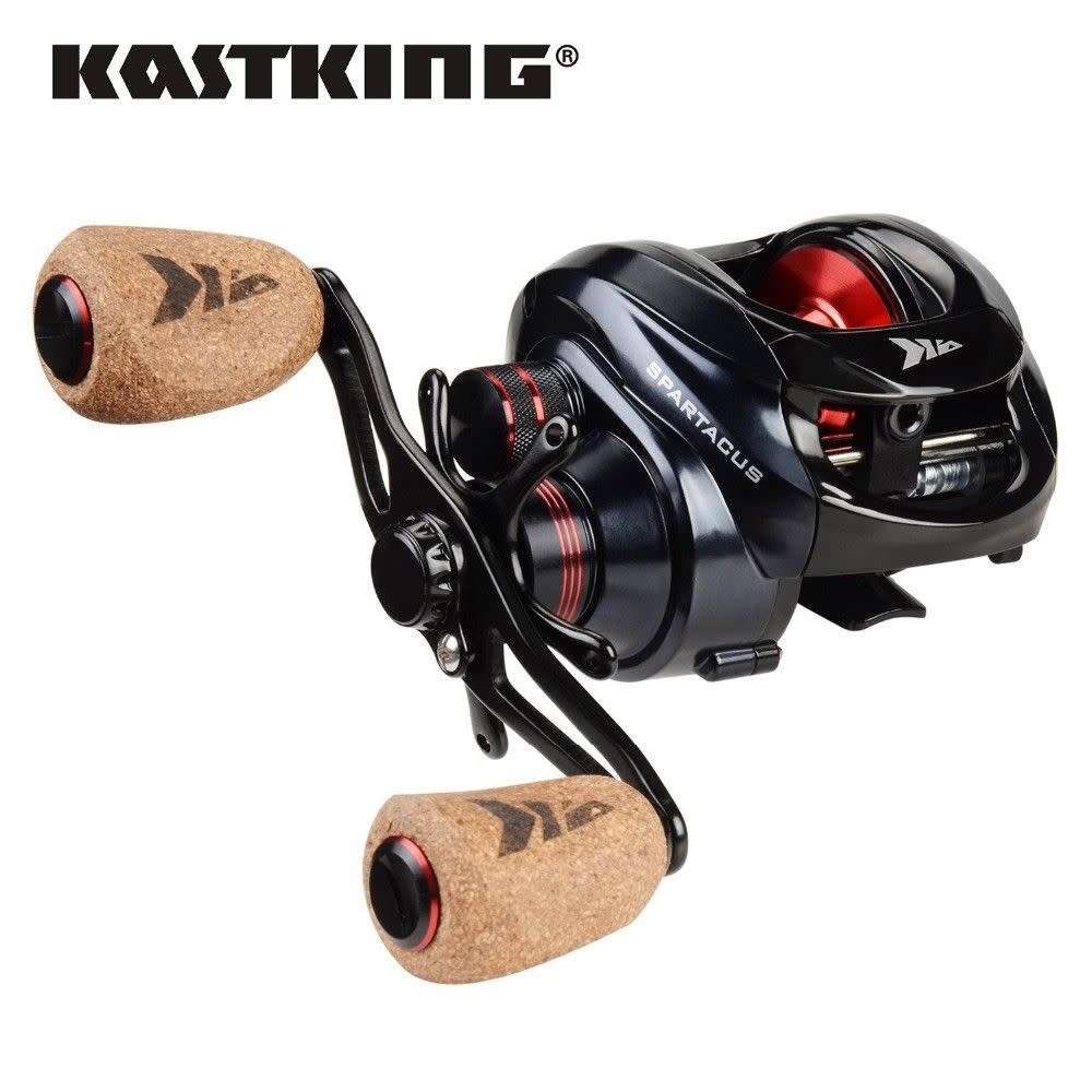 KastKing New - KastKing Spartacus Plus Baitcasting Reel Freshwater Baitcaster right hand cork grip