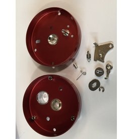 Abu Garcia 5138 & 4195 Abu Garcia Red 1970's era 6000 side plate set with clicker