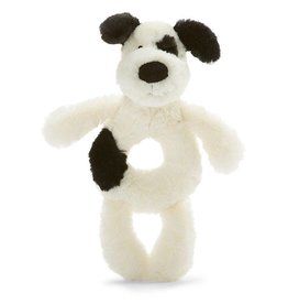 Jellycat Jellycat Bashful Black & Cream Puppy Ring Rattle