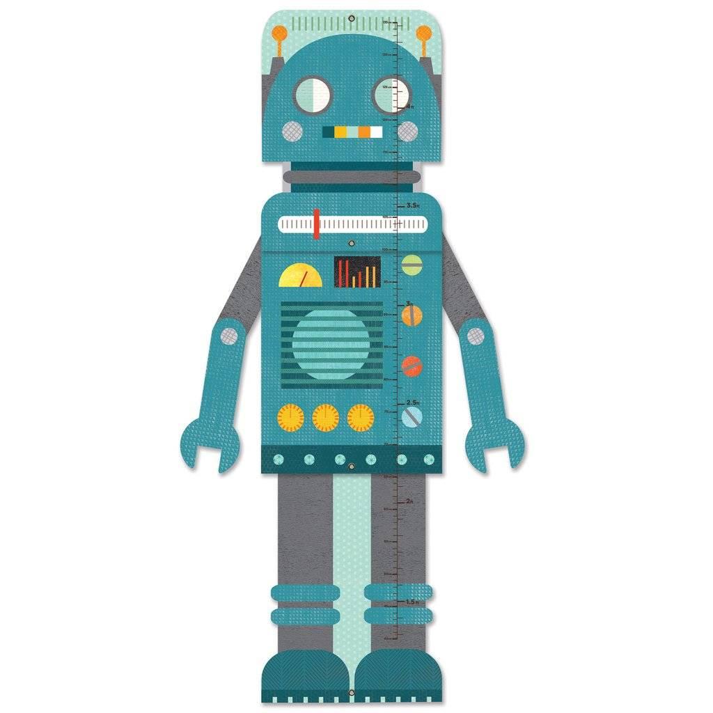 Petit Collage Blue Robot Folding Growth Chart