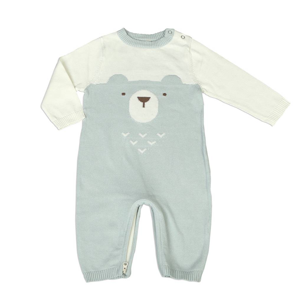 Silkberry Baby Sweater Romper with Easy Dressing Zipper – Snow/Harbour (bear)