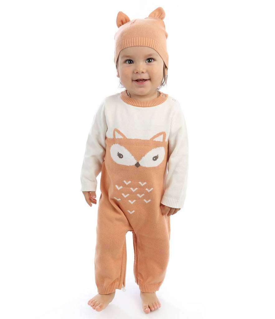 Silkberry Baby Sweater Romper with Easy Dressing Zipper – Snow/Apricot (fox)
