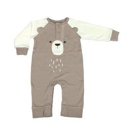 Silkberry Baby Organic Cotton Long Sleeve Romper with Ears Bear Cub/Snow (bear)
