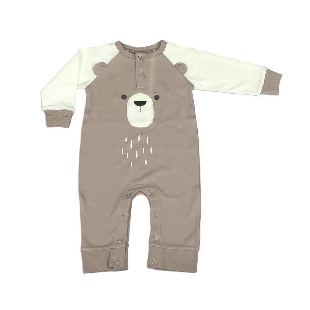 Silkberry Baby Organic Cotton Long Sleeve Romper with Ears Bear Cub/Snow (bear)