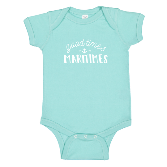 Pip + Daisy Good Times in the Maritimes Onesie Chill Blue