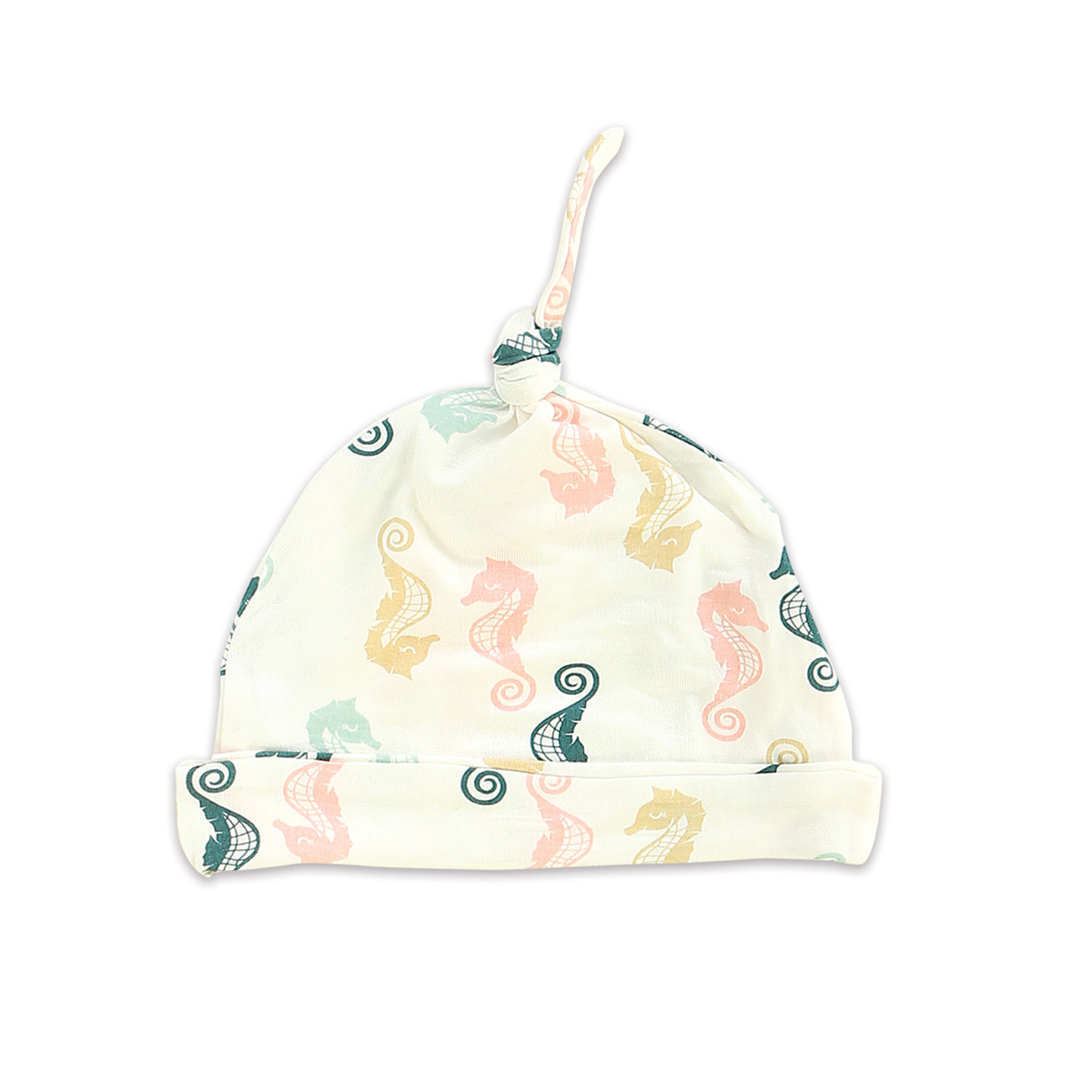 Silkberry Baby Bamboo Knot Hat Seahorse Print