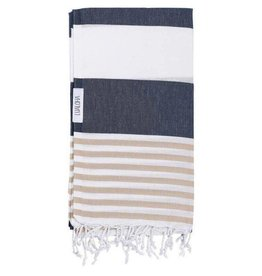 Lualoha Lualoha Turkish Towel Striped Goodness Navy & Sand