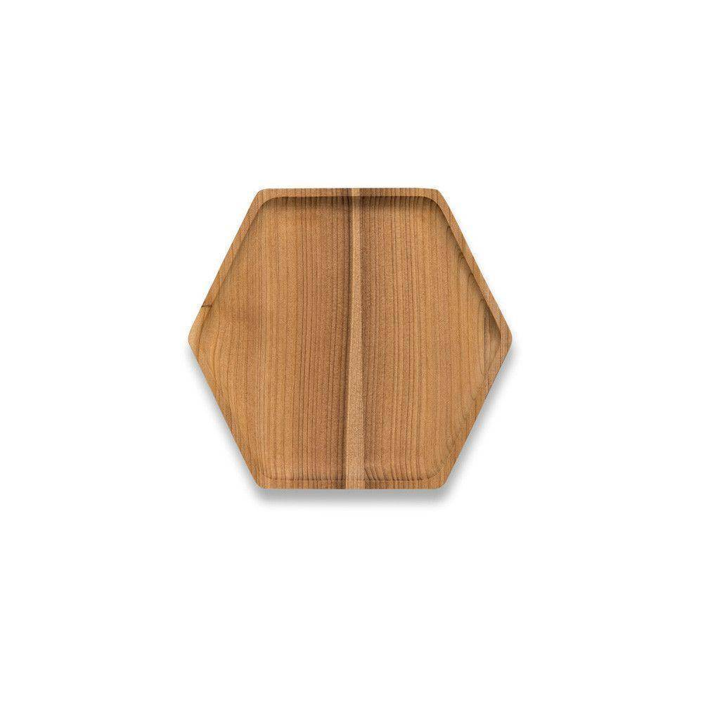 Bambu Cedar Wood Hex Tray Large