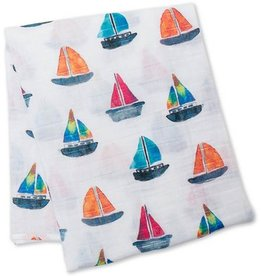 Lulujo Lulujo Cotton Muslin  Sailboat Swaddling Blanket