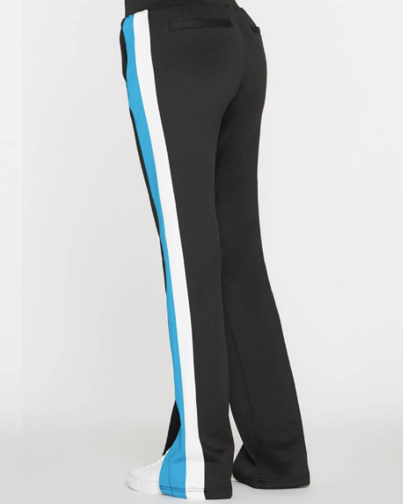 Pam and Gela Black Track Pant With Turq/White Side Stripe