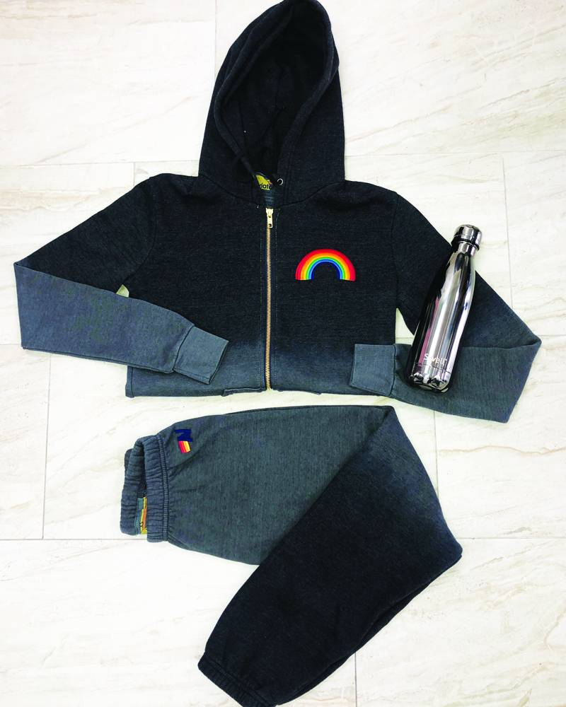 Aviator Nation Faded Rainbow Embroidery Zip Hoodie Vintage Charcoal