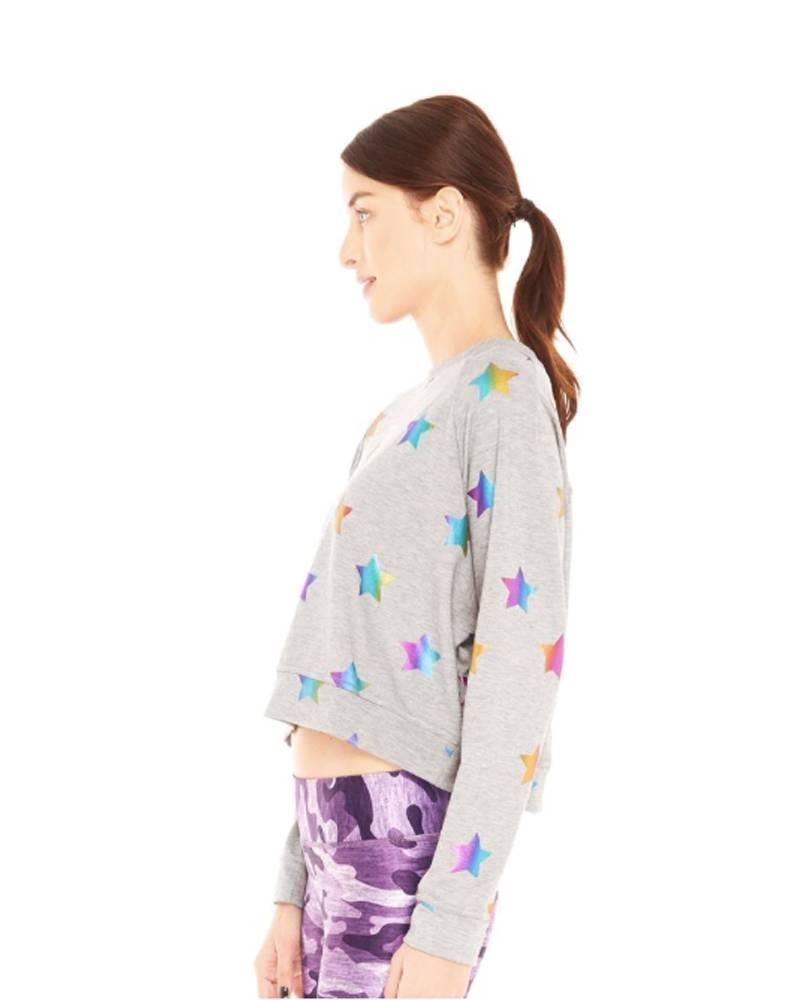 Terez Rainbow Foil Big Stars Sweatshirt