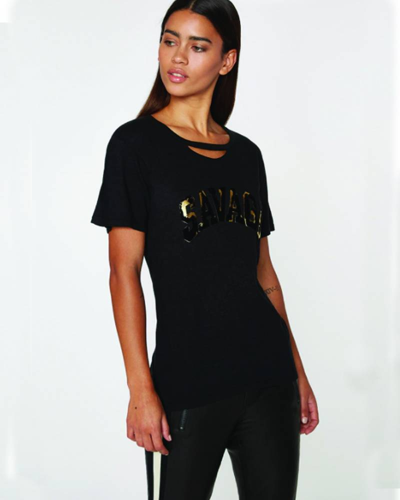 Pam and Gela Black/Gold Slouchy Crew Savage