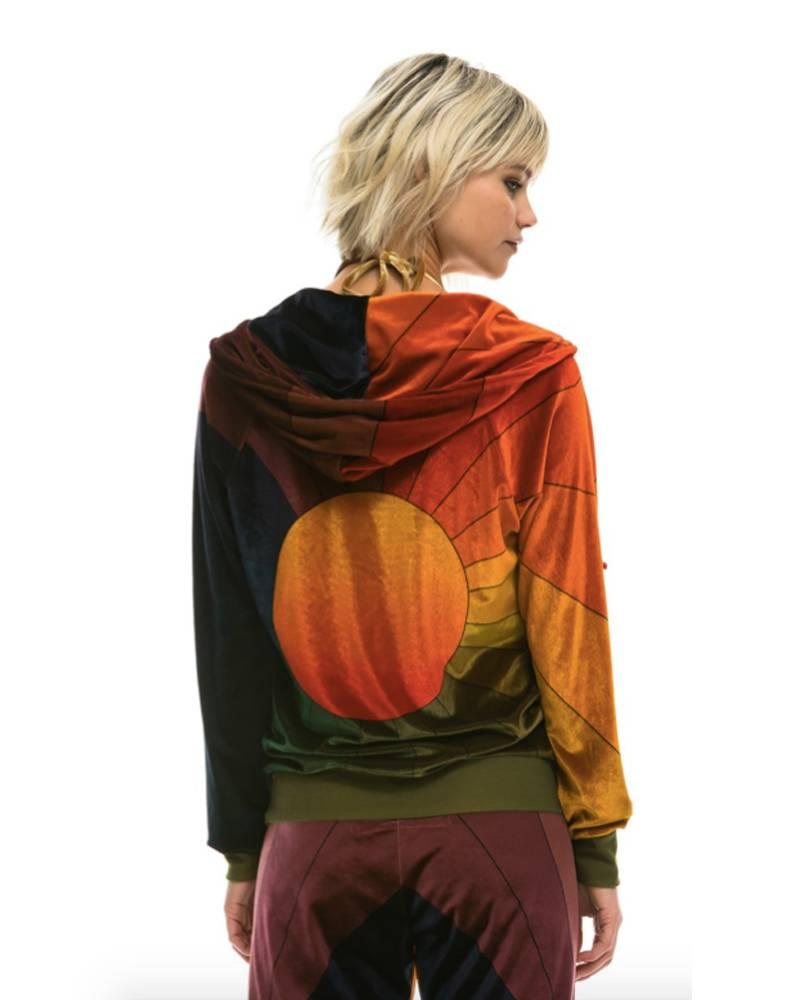 Aviator Nation Rainbow Sunburst Velvet Hoodie