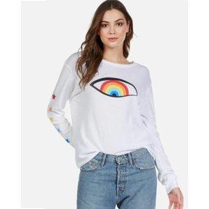 Lauren Moshi Rainbow Eye Star Combo White L/S Tee