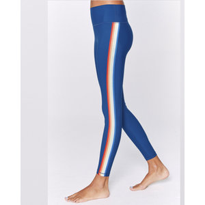 Spiritual Gangster 7/8 HW Rainbow Stripe Legging - Blue Opal