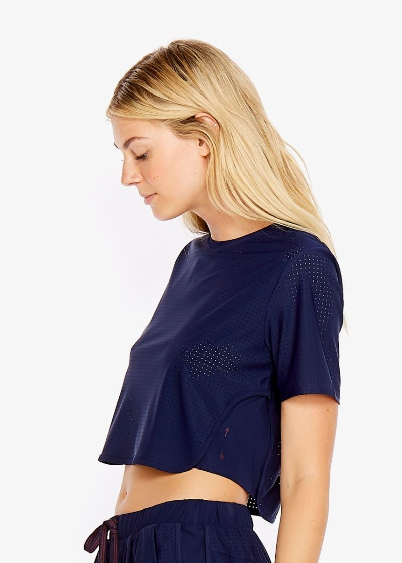 The Upside Navy Track Cropped Tee
