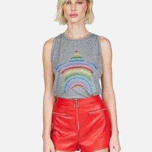 Lauren Moshi Peyton Tank Heather Grey Crystal Rainbow Stripe Star