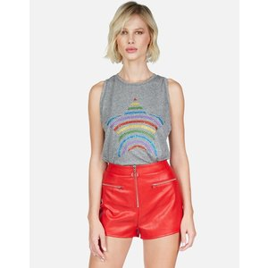 Lauren Moshi Peyton Tank Heather Grey Crystal Rainbow Stripe Star