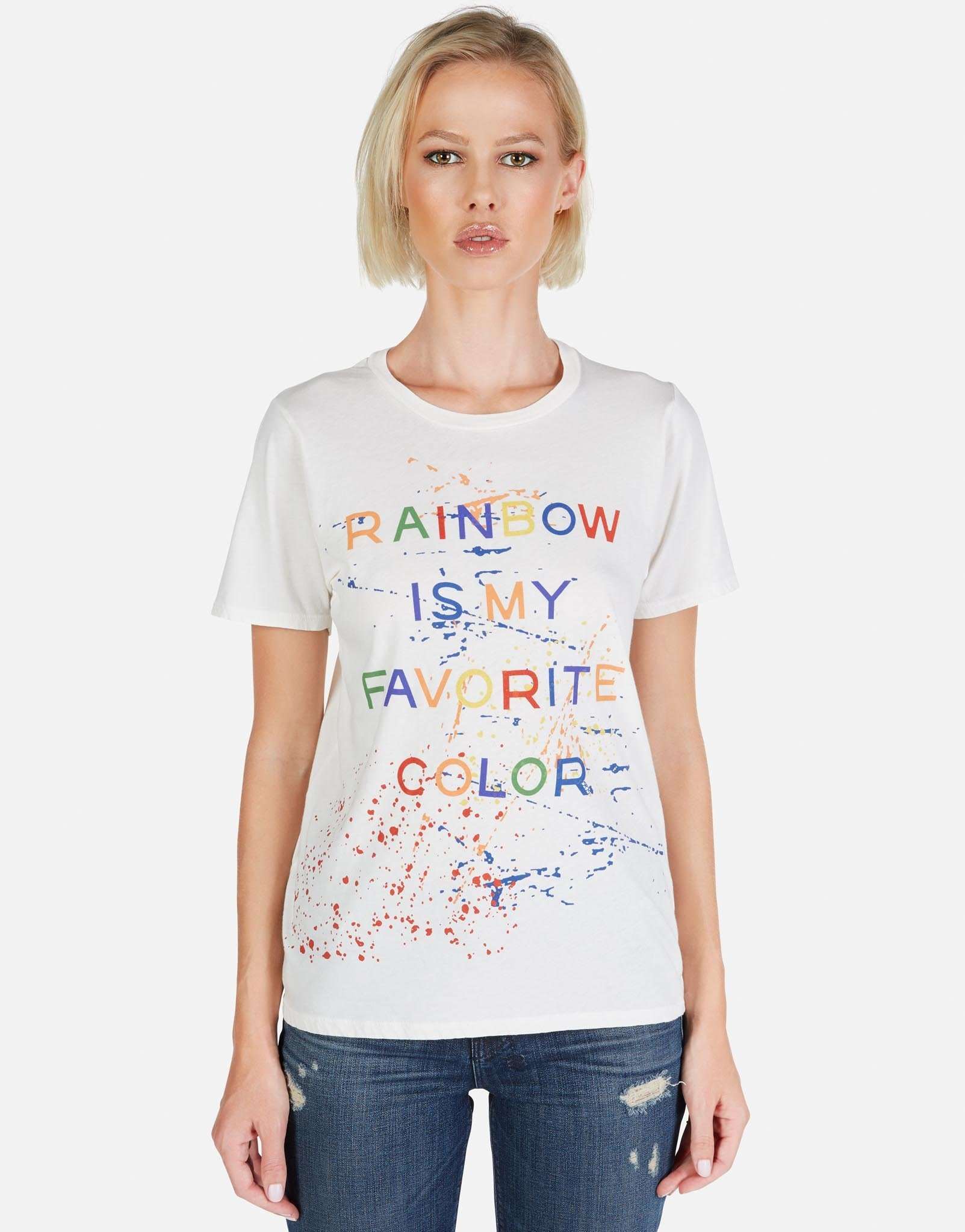 Lauren Moshi Rainbow Splatter Milk Craft Tee