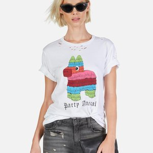 Lauren Moshi Color Party Animal White Wolf Classic Tee S
