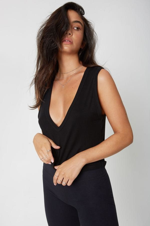 Joah Brown Deep V Crop Tank Black Rib