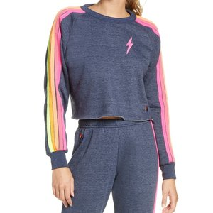 Aviator Nation Bolt Cropped Classic Crew Sweatshirt Heather Navy Neon